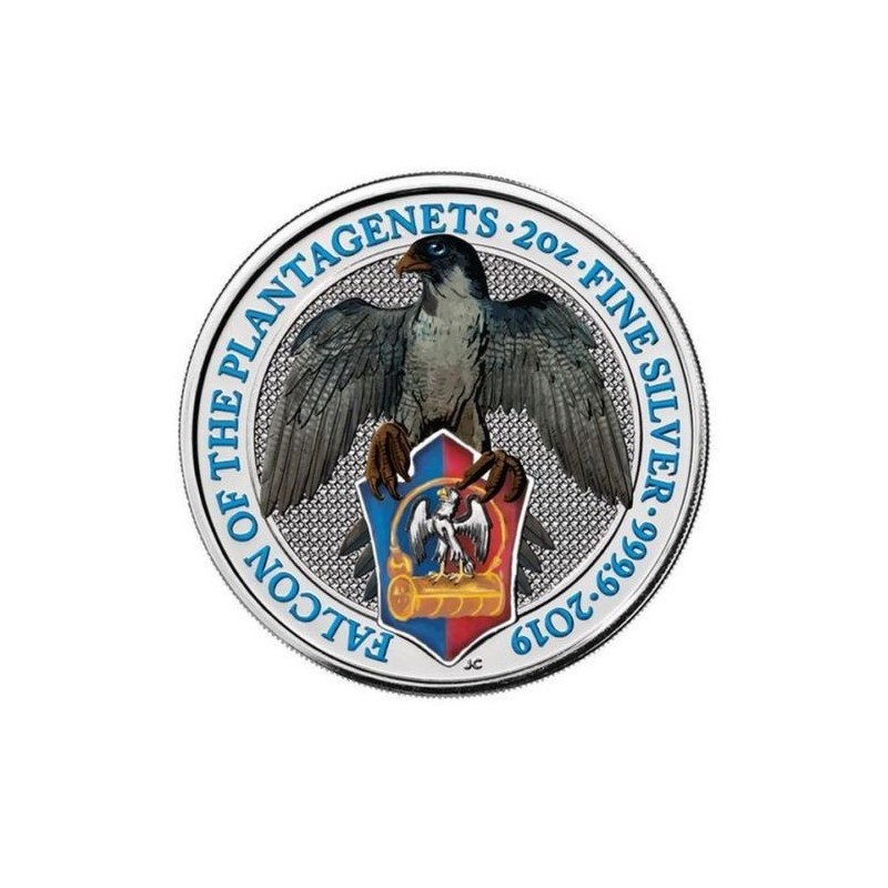 2 Unzen Silber Queens Beasts Falcon 2018 High Relief Gilded Teilvergoldet