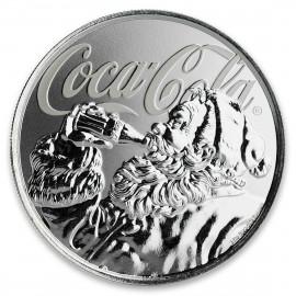 1 Unze Silber  Coca Cola Holiday Coin Blister Fiji 2018