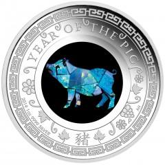 1 Unze Silber Lunar Opal Serie Schwein Pig