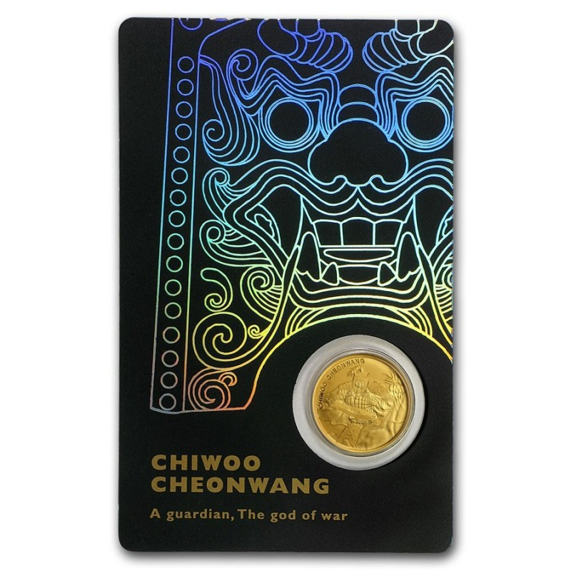 1/10 oz Unze  Gold Südkorea South Korea Chiwoo Cheonwang 2018 Blister Schwarz