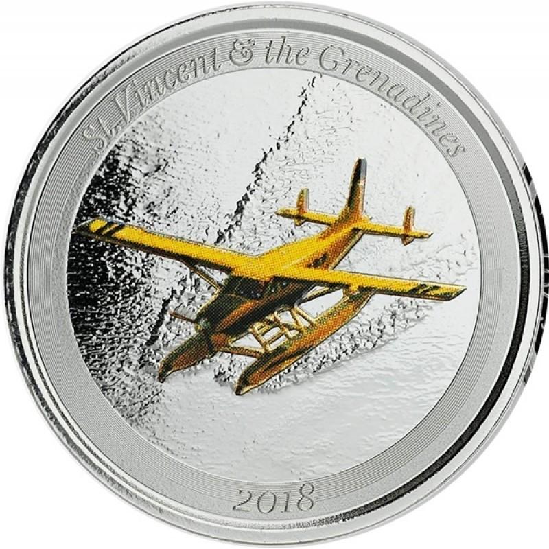 1 Unze Silber 2018 St Vincent Wasserflugzeug farbig