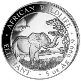 5 Unze oz Silber Somalia Elefant 2019