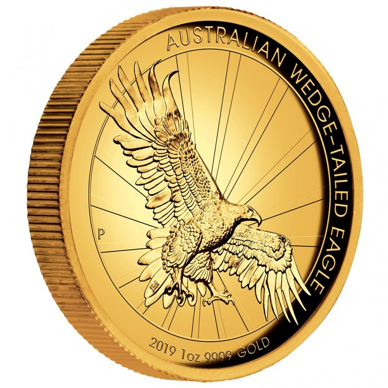 1 Unze Gold Wedge-Tailed Eagle High Relief PP mit Box 2019