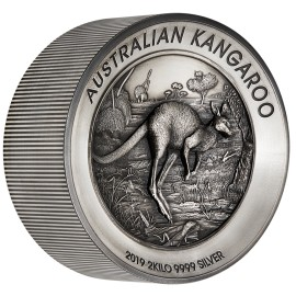 2 kg Silber Känguru 2019 Antique Finish High Relief