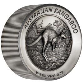 2 kg Silber Känguru 2019 Antique Finish High Relief