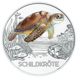 3 Euro Tier Taler Österreich Schildkröte handgehoben