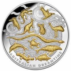 5 Unzen Silber Wahrzeichen Australiens Dreamtime 2019 gilded PP Niue