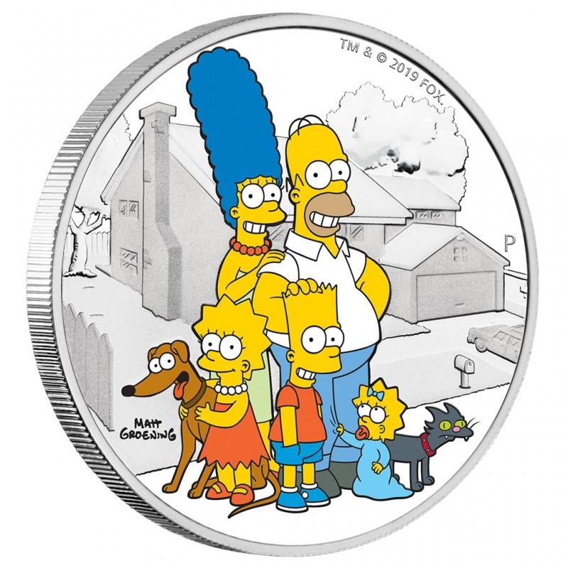 2 Unze Silber Tuvalu - 1 $ 2019 Simpson Family- 2 Oz. Silber PP Farbig