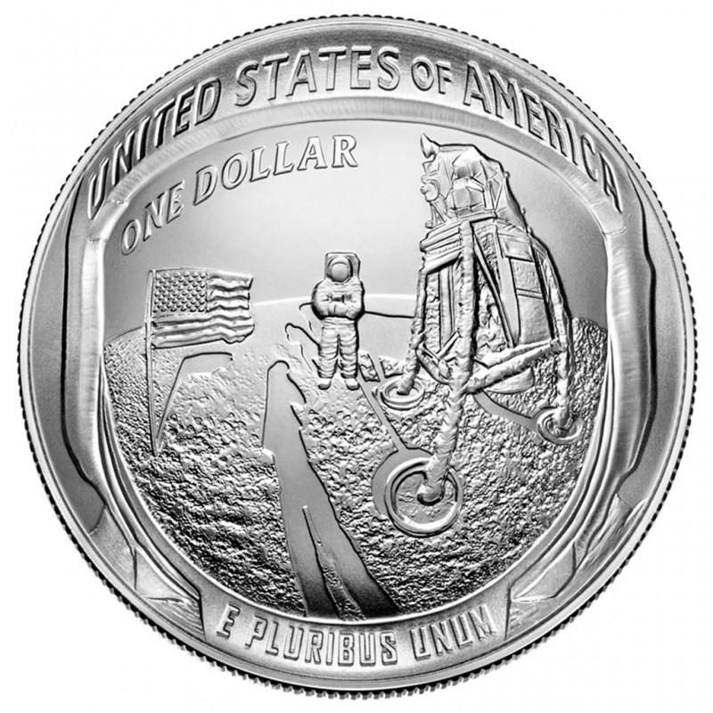 26,73 gr Silber APOLLO 11 - 50 JAHRE MONDLANDUNG GEWÖLBTE PRÄGUNG