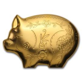 1 Unze Silber 2019 Mongolia 1 Gilded Lunar Jolly Pig Schwein