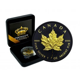 1 Unze Silber Maple Leaf 2015 Gold Black Empire