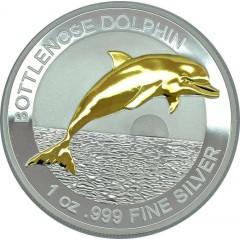 1 Unze Silber Delfin Bottlenose Dolphin 2019 gilded