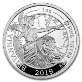 1 Unze Silber Britannia UK 2019   PP 2 Pfund  Silber PP