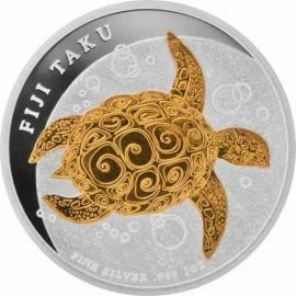1 Unze Silber Turtle Schildkröte  teilvergoldet PP 2010 (in Dose)