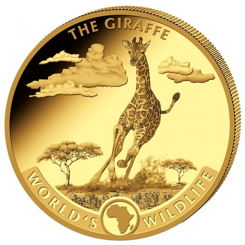 5 oz Gold World Wildlife Giraffe  2019 Kongo