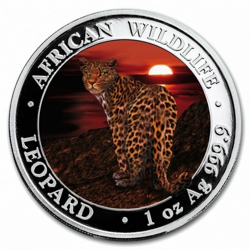 1 Unze Silber Somalia Leopard 2018 farbig box