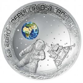 20 Euro Silber Mondlandung PP Münze Österreich 2019  gewölbt