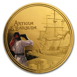 2018 Antigua & Barbuda 1 oz Gold Rum  coloured