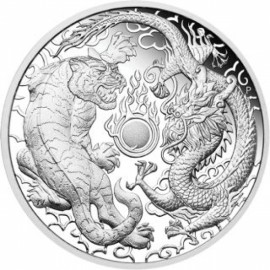 1 Unze Silber Dragon + Tiger Perth Mint 2019PP