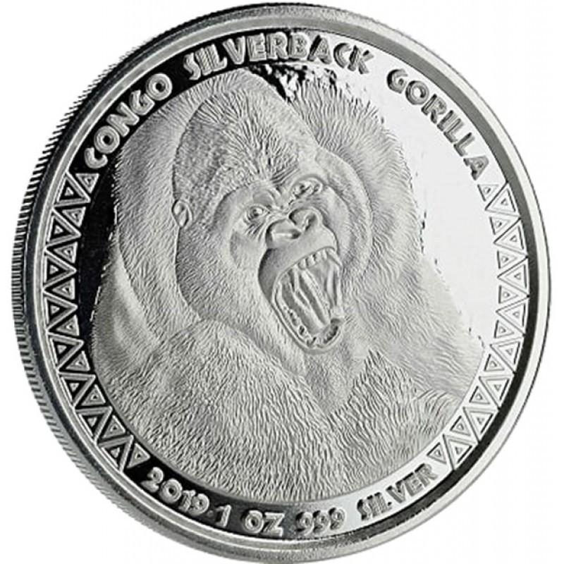 1 oz Silver  silverback Gorilla Kongo 2018