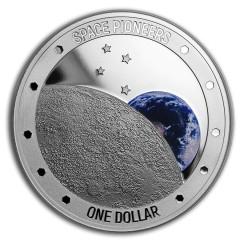 1 Unze Silber Raumfahrpioniere Neuseeland PP Farbig