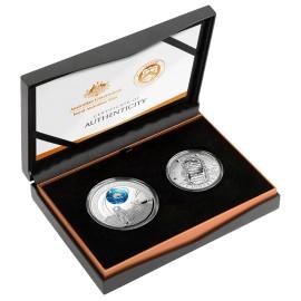5,5 $  2 x Münzen Silber APOLLO 11 - 50 JAHRE MONDLANDUNG GEWÖLBTE PRÄGUNG