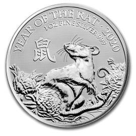 1 Unze Silber Lunar UK 2020 Ratte