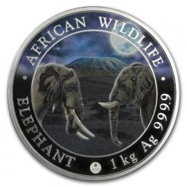 1 Kilo Silver Somalia Elefant 2019 Night