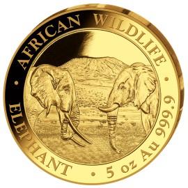 5 Unzen oz Gold Somalia Elefant 2020 PP (inkl. Holzbox)