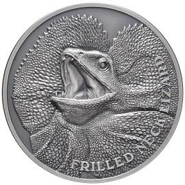 1 Unze oz Silber Kragenechse Niue Box 2020
