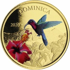 1 Unze oz Gold 2020 Domimica Nature Isle farbig