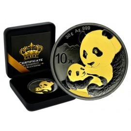 1 Unze Silber China Panda 2018 Gold Black Empire