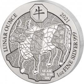 1 Unze Silber Ruanda Ochse 2021