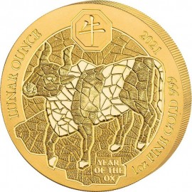 1 Unze Gold Ruanda Ochse 2021