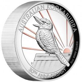 5 Unzen  Silber Australien Kookaburra 2020 teilvergoldet High Relief