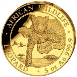 5 Unzen oz Gold Somalia Leopard 2020 PP (inkl. Holzbox)
