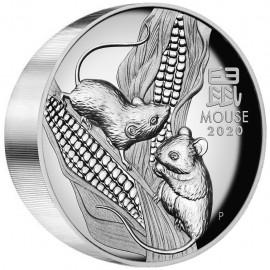 5 Unzen Silber Maus Lunar III 2020 High Relief