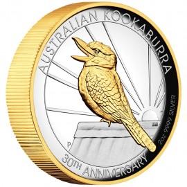 2 Unzen Silber   teilvergoldet  Kookaburra 2020
