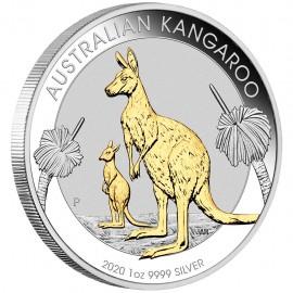 1 Unze Silber Känguru  Nugget 2020 Gilded