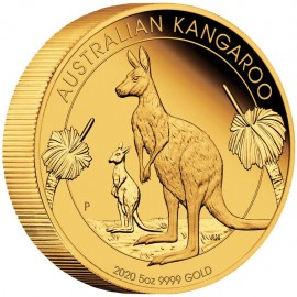 5 Unze Gold Känguru PP High Relief  mit Box 2018