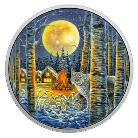 2 Unzen Silber Canada Lynx Animals in the Moonlight  Glow in the dark