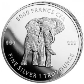 1 Unze Silber Tschad Mandala Elefant 2019 BU