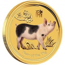 1/20 oz Gold Lunar II Schwein 2019 farbig