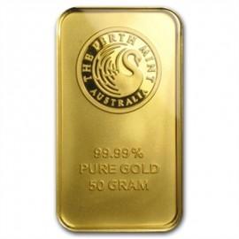 50 g Perth Mint Känguru Goldbarren