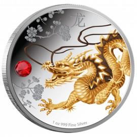 1 Unze Silber  Feng Shui Drache 2015
