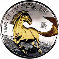 1 oz Lunar UK 2014 Pferd Gilded