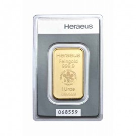 1 unze oz Goldbarren Heraeus