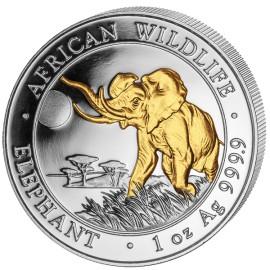 1 Unze Silber Somalia Elefant Gilded  2016