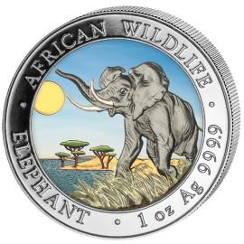 1 Unze Silber Somalia Elefant 2016 Coloriert