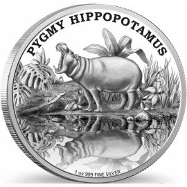 1 Unze oz Silber Endangered Species Hippopotamus  Nieu Box PP
